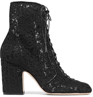 Laurence Dacade - Milly Leather-trimmed Lace Ankle Boots - Black $990 thestylecure.com