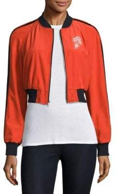 Emerson Cropped Silk Bomber Jacket