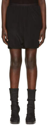 Rick Owens Black Silk Crepe Bud Shorts