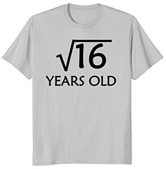 4th Birthday T-Shirt   Square Root of 16 - 4 Years Old