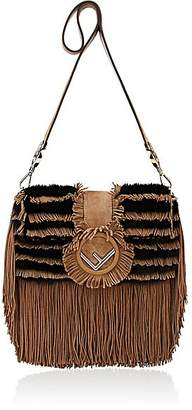 Fendi Women's Striped Fur Shoulder Bag - Camel, Blk