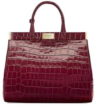 Aspinal of London Large Florence Snap Bag In Deep Shine Bordeaux Croc