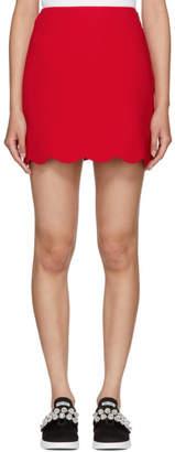 Miu Miu Red Cady Scalloped Hem Miniskirt