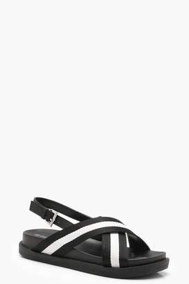 boohoo Lacey Monochrome Striped Cross Strap Sandals
