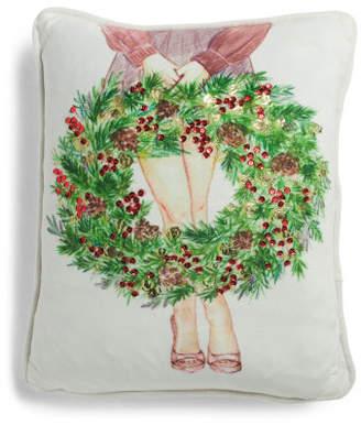 14x18 Velvet Christmas Wreath Pillow