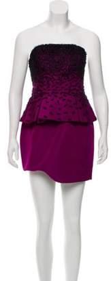 Jason Wu Silk Strapless Dress Purple Silk Strapless Dress