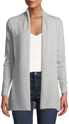 Neiman Marcus Cashmere Open-Front Cardigan, Gray