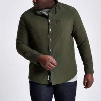 River Island Big and Tall green long sleeve Oxford shirt