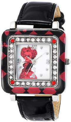Disney Alice in Wonderland Women's AL1012 Red Queen Dial Black Strap Watch