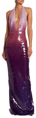 Tom Ford Deep V-Neck Degrade Sequined Gown