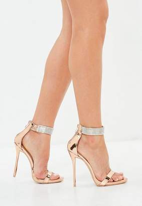 Missguided Rose Gold Ankle Cuff Barely There Heels