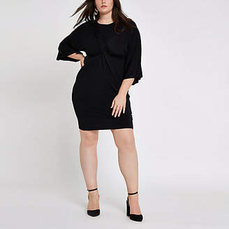 River Island Plus black long sleeve knot front dress