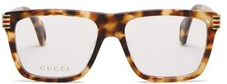 Gucci Square Frame Tortoise Effect Acetate Glasses - Womens - Tortoiseshell