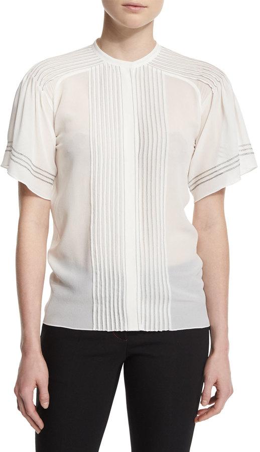 Burberry Short-Sleeve Pleated Silk Blouse, White