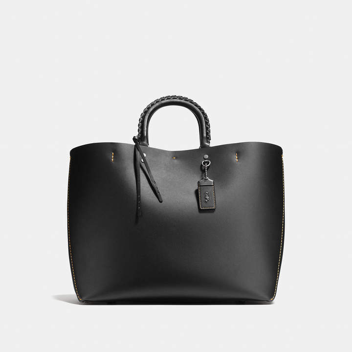 Coach  COACH Coach Rogue Tote In Glovetanned Calf Leather With Embellished Handle
