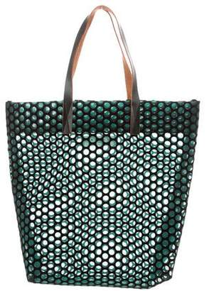 Marni Leather-Trimmed Mesh Tote