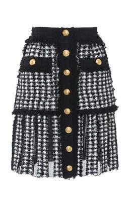 Balmain Button-Up Tweed Mini Skirt