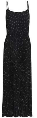 Vince Pleated Floral-Print Crepe Midi Dress