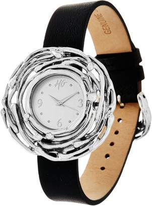 Hagit Sterling Silver Leather Wrist or Pendant Nest Watch
