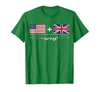 Mens American + British = Sexy USA and UK Flags T-Shirt 2XL