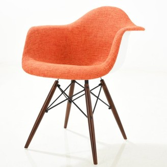 Poly and Bark Vortex Padded Arm Chair with Walnut Base in Orange