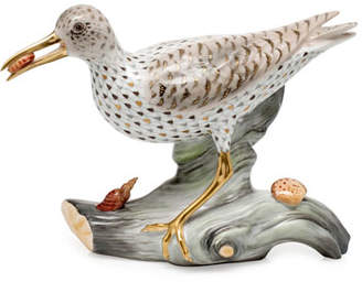 Herend Spotted Sandpiper on Driftwood Figurine