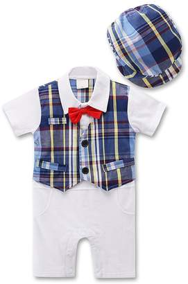 YEEMISS Baby Boy Tuxedo, 2pcs Short Sleeve Toddler Gentleman Outfits & Berets Hat with Bowtie