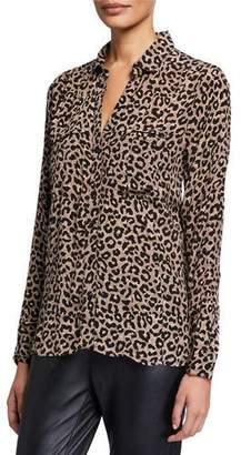 Tolani Acelyn Animal-Print Long-Sleeve Cupro Tunic