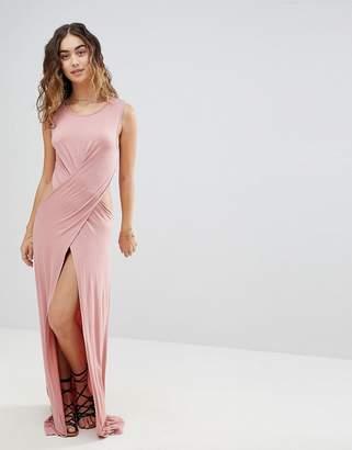 Asos DESIGN Cross Front Split Jersey Maxi Beach Dress