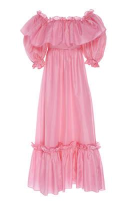 LoveShackFancy Tara Bright Off The Shoulder Dress