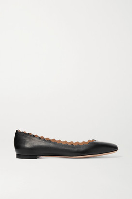 Chloé Lauren Scalloped Leather Ballet Flats - Black