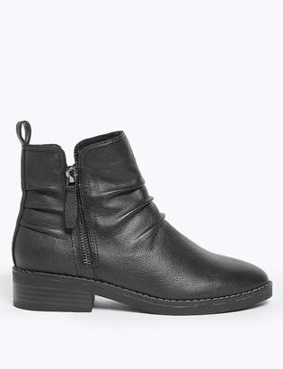Marks and Spencer Leather Ruched Zip Ankle Boots