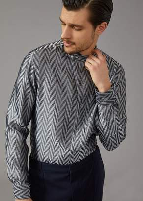 Giorgio Armani Shirt In Yarn-Dyed Chevron Jacquard Fabric