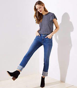 LOFT Modern Cuffed Straight Leg Jeans in Pure Mid Indigo Wash