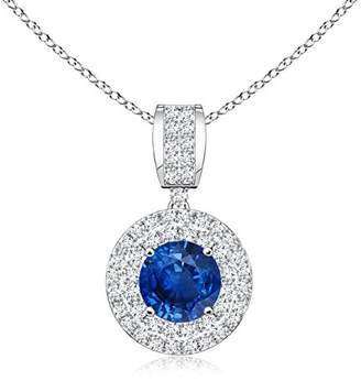 Angara Vintage Sapphire and Diamond Floral Halo Pendant in Platinum P7TPaZPQM