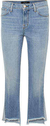 J Brand Aubrie Frayed High-rise Flared Jeans - Mid denim