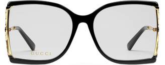 Gucci Square acetate and metal glasses