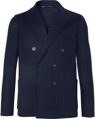 Altea Navy Double-Breasted Textured-Knit Cotton Blazer