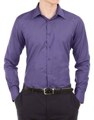Verno Mens Light Blue Slim Fit Long Sleeves Dress Shirt