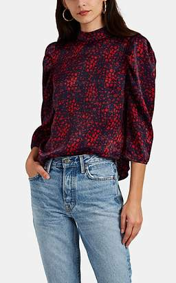 FiveSeventyFive Women's Floral Satin Puff-Shoulder Blouse