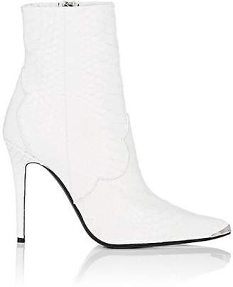 Amiri Women's Snakeskin-Embossed Leather Ankle Boots - White