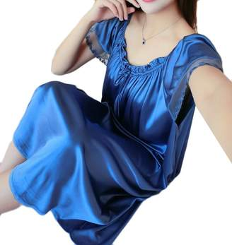 3c04596e7f0 Domple Womens Lace Trim Satin Silk Plus Size Sleepwear Nightgown Dress 5XL