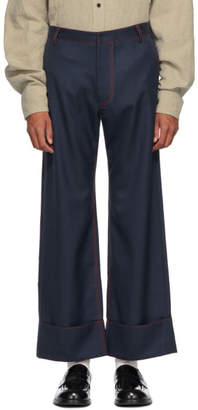 Chin Mens Navy and Red Patch Pocket Trousers
