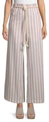 ENGLISH FACTORY Striped Wide-Leg Paperbag Pants