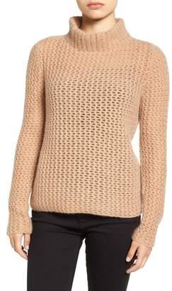 Halogen Stitch Detail Cashmere Mock Neck Sweater