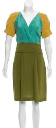Philosophy di Alberta Ferretti Silk Colorblock Dress