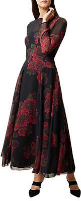 Hobbs Silk Rose Dress, Black/Red
