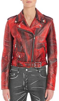 Moschino Faded Leather Moto Jacket