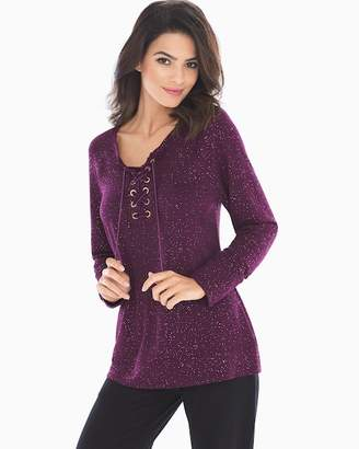 French Terry Lace Up Sweatshirt Glittered Bordeaux