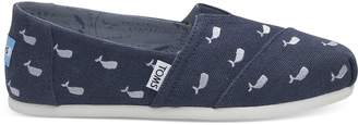 Toms OCEANA Washed Canvas Embroidered Whales Women's Classics
